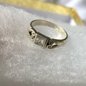 Jewelry - Princess Cut CZ Sterling Silver Ring